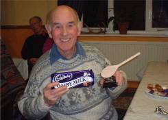 So Lyn was presenting the wooden spoon to Ken!
